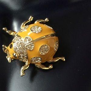 Embellished Rhinestone Enamel Ladybug Hair Clip